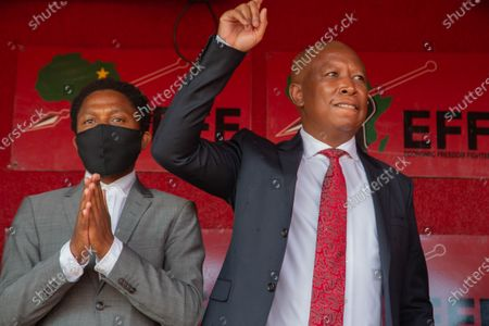 Stock Image of Julius Malema (R) and the party's MP Mbuyiseni Ndlozi leave the Randburg magistrate court.  Court postpones Julius Malema and the party's MP Mbuyiseni Ndlozi  assault case to March 2021.