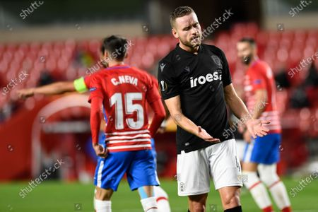 PAOK FC player Sverrir Ingi Ingason reacts during the Europa League match between Granada CF and PAOK FC at Nuevo los Carmenes Stadium in Granada. (Final score; Granada CF 0:0 PAOK)