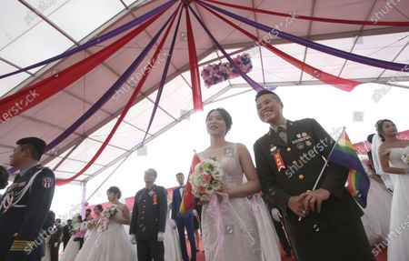 Image éditoriale de Military LGBT Marriage, Taoyuan, Taiwan - 30 Oct 2020