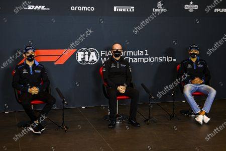 Nicholas Latifi, Williams Racing, Simon Roberts, Acting Team Principal, Williams Racing, and George Russell, Williams Racing, in a Press Conference during the 2020 Formula One Emilia Romagna Grand Prix