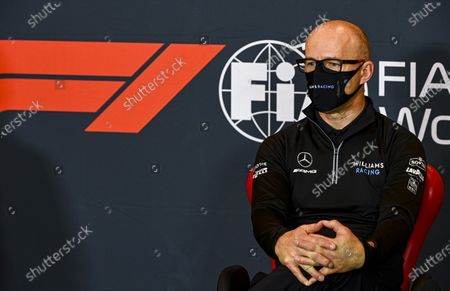 Simon Roberts, Acting Team Principal, Williams Racing, attends a media conference ahead of Sunday's Emilia Romagna Formula One Grand Prix, at the Enzo and Dino Ferrari racetrack, in Imola, Italy