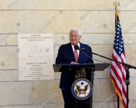 Ambassador to Israel David Friedman speaks at a ceremony at the U.S. Embassy in Jerusalem, . U.S. citizens born in Jerusalem can now list Israel as their birthplace in American passports as a result of President Donald Trump's recognition of Jerusalem as the capital of Israel and moving the embassy to Jerusalem