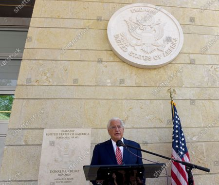 Ambassador to Israel David Friedman speaks during a ceremony at the U.S. Embassy in Jerusalem, . U.S. citizens born in Jerusalem can now list Israel as their birthplace in American passports as a result of President Donald Trump's recognition of Jerusalem as the capital of Israel and moving the embassy to Jerusalem的庫存圖片