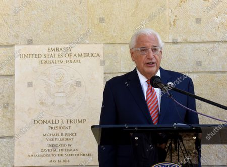 United States Ambassador to Israel David Friedman speaks during an event at the US Embassy in Jerusalem, Israel, October 30, 2020.  US citizens born in Jerusalem can now list Israel as their birthplace in American passports after of President Donald Trump listed Jerusalem as the capitol of Israel moved the USA embassy there.