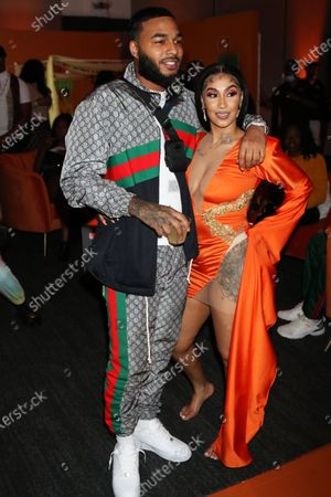 Christopher Sails and Queen Naija attend the 'MISUNDERSTOOD' album release and listening party at The Gathering Spot