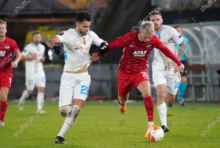 Albert Gudmundsson  and Joao Escoval of HNK Rijeka during UEFA Europa League 2020/2021 Group Stage between AZ Alkmaar vs HNK Rijeka on Octobre 29. 2020 in AZ Stadion Alkmaar, Netherlands