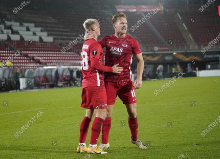 Albert Gudmundsson  and Dani de Wit after 4-0 during UEFA Europa League 2020/2021 Group Stage between AZ Alkmaar vs HNK Rijeka on Octobre 29. 2020 in AZ Stadion Alkmaar, Netherlands