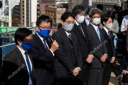 Kenso Fujii, president of Yokahoma Stadium, speaks during a media tour at the stadium in Yokohama, south of Tokyo on . The tour was to introduce different device installed at the stadium to manage the coronavirus spread control among the audience members
