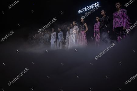 Models present creations at the show CHEN.1988 by Long Chen during the China Fashion Week in Beijing, China, 30 October 2020. The fashion event runs from 24 October to 01 November 2020.