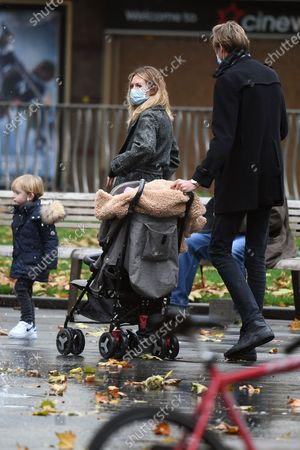 Abbey Clancy and Peter Crouch are seen walking through Leicester Square