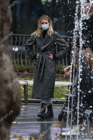 Abbey Clancy is seen in Leicester Square