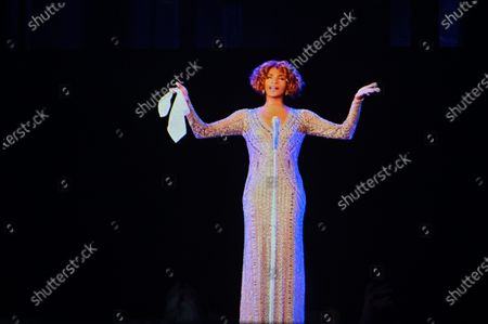 Stock Image of A hologram of late US singer Whitney Houston is seen during the dress rehearsal of 'An Evening with Whitney Houston' in Madrid, Spain, 30 October 2020. The musical will be world premiered on 31 October 2020 in Madrid after its presentation in Las Vegas had to be postponed due to the ongoing coronavirus pandemic.
