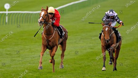 AWAKE MY SOUL (Tom Queally) beats DOLPHIN VISTA (right) in The Play 3-2-Win At Mansionbet Handicap Newmarket