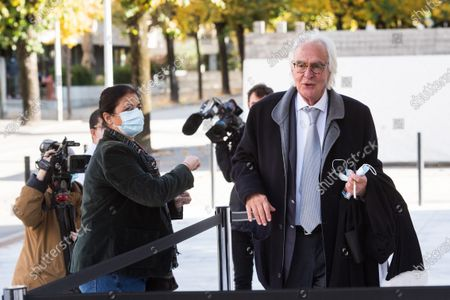 Marc Bonnant (R), one of the lawyers of former FIFA secretary general Jerome Valcke, arrives for the pronouncement of the judgement at the Federal Criminal Court of Bellinzona, Switzerland, 30 October 2020. Valcke is accused of taking bribes, falsification of documents, and aggravated criminal mismanagement.