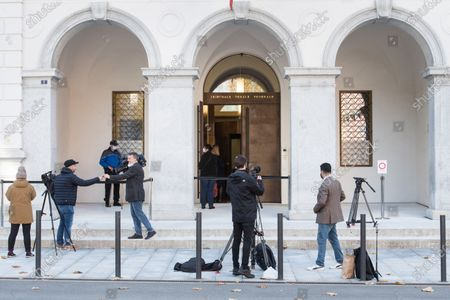 Stock Picture of Journalists wait for the pronouncement of the judgement in the lawsuit against former FIFA secretary general Jerome Valcke in front of the Federal Criminal Court in Bellinzona, Switzerland, 30 October 2020. Valcke is accused of taking bribes, falsification of documents, and aggravated criminal mismanagement.