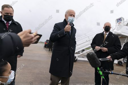 Democratic presidential candidate former Vice President Joe Biden speaks to members of the media before boarding his campaign plane at New Castle Airport in New Castle, Del., to travel to Des Moines, Iowa. Biden is holding rallies today in Des Moines, Iowa, Saint Paul, Minn., and Milwaukee, Wis