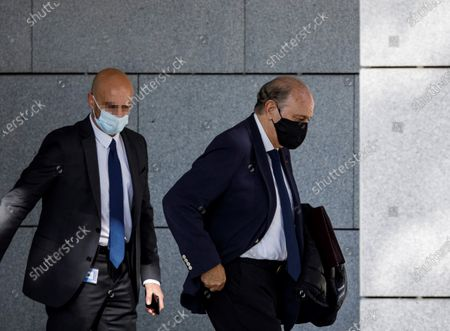 Former Home Affairs minister Jorge Fernandez Diaz (L) at his departure to the National Court in Madrid, Spain, 30 October 2020 where he will be judge as accused in 'Kitchen' case, an allegedly illegal spying operation against the former Popular Party treasurer Luis Barcenas. EFE/Victor Lerena