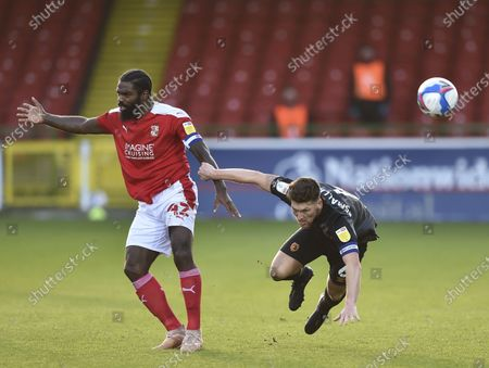 Stock Picture of Richard Smallwood of Hull City and Anthony Grant of Swindon Town collide