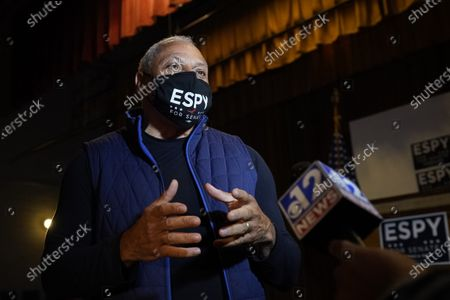 Democrat Mike Espy speaks about his platform at the old Yazoo City High School as he kicked off his final campaign push for the U.S. Senate with a bus tour of the state, in Yazoo City, Miss. Espy faces Republican incumbent U.S. Sen. Cindy Hyde-Smith and Libertarian candidate Jimmy Edwards on Nov. 3