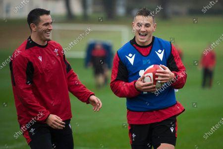 Owen Watkin and Jonathan Davies during training.