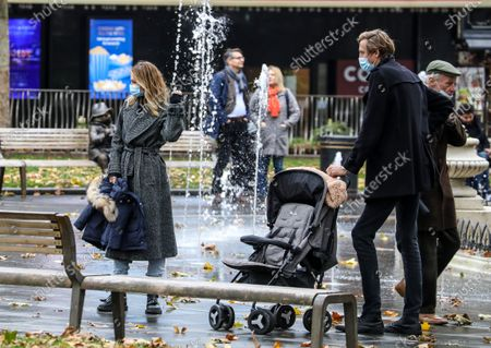 Abigail Clancy and Peter Crouch spotted on a family day out in London.