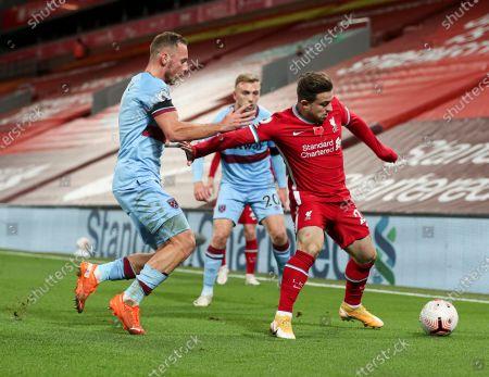 Xherdan Shaqiri of Liverpool and Vladimir Coufal of West Ham
