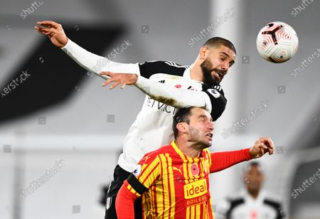Stock Picture of Aleksander Mitrovic of Fulham battles with Branislav Ivanovic of West Bromwich Albion
