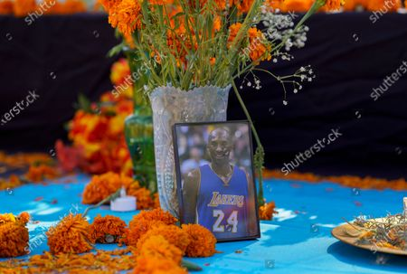 """Fresh marigolds, often called """"flowers of the dead,"""" sit next to a picture of late Los Angeles Lakers' basketball player Kobe Bryant left by members of the community, at an altar for Day of the Dead, titled """"2020 Memorial to Our Resilience,"""" by artist Ofelia Esparza and her family at Grand Park in Los Angeles, on"""