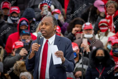 Stock Photo of Secretary of the U.S. Department of Housing and Urban Development Dr. Benjamin S. Carson, Sr., M.D., delivers a speech prior to the start oif the rally. U.S. President Donald Trump delivers remarks at a Make America Great Again Rally in Waterford Township, Michigan on Friday, 30 October, 2020.