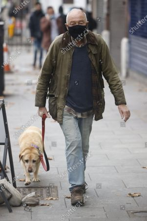 Former Labour mayor Ken Livingstone walks with his dog near his in north London home. Yesterday former Labour party leader eader Jeremy Corbyn was suspended over his reaction to the Equality and Human Rights Commission's anti-Semitism report.