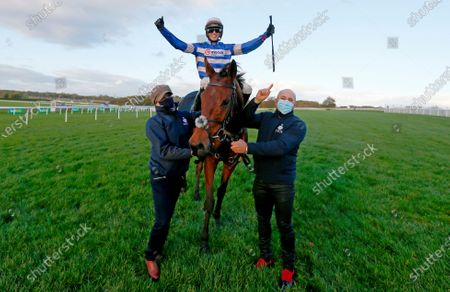 Cyrname and Harry Cobden congratulated by Kate Nutt and Rodrigo Zanchi after winning The bet365 Charlie Hall ChaseWetherby 31.10.2020Pic Dan Abraham, supplied by Hugh Routledge.