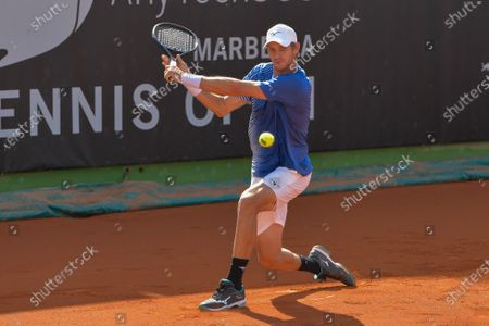 Slovenian tennis player Blaz Rola in action against Spanish tennis player Pedro Martinez during their men's single match at the ATP Marbella Challenger in Malaga, Spain, 30 October 2020.