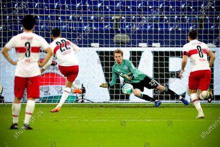 Stuttgart's Nicolas Gonzalez (2-L) scores the 1-1 equalizer from the penalty spot during the German Bundesliga soccer match between FC Schalke 04 and VfB Stuttgart at Veltins-Arena in Gelsenkirchen, Germany, 30 October 2020.