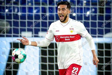 Stuttgart's Nicolas Gonzalez celebrates after scoring the 1-1 equalizer from the penalty spot during the German Bundesliga soccer match between FC Schalke 04 and VfB Stuttgart at Veltins-Arena in Gelsenkirchen, Germany, 30 October 2020.