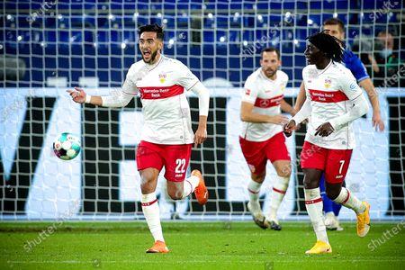 Stuttgart's Nicolas Gonzalez (L) celebrates with his teammates after scoring the 1-1 equalizer from the penalty spot during the German Bundesliga soccer match between FC Schalke 04 and VfB Stuttgart at Veltins-Arena in Gelsenkirchen, Germany, 30 October 2020.