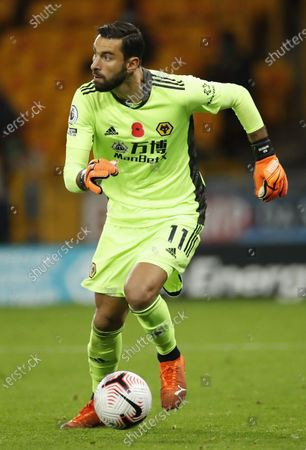 Goalkeeper Rui Patricio of Wolverhampton in action during the English Premier League match between Wolverhampton Wanderers and Crystal Palace in Wolverhampton, Britain 30 October 2020.