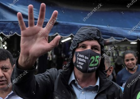 The candidate to Rio de Janeiro Mayor for Democratas Party Eduardo Paes waves during a campaign event in Rio de Janeiro, Brazil, 30 October 2020. Brazil will hold local elections on 15 and 28 November 2020.