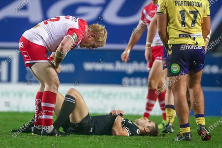 Referee Chris Kendall after colliding with St Helens' James Graham.