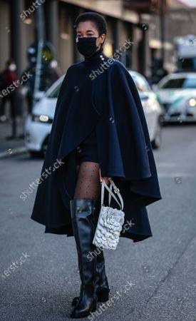 Editorial image of Street style, Spring Summer 2021, Milan Fashion Week, Italy - 27 Sep 2020