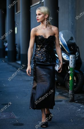 Editorial image of Street style, Spring Summer 2021, Milan Fashion Week, Italy - 27 Sep 2020