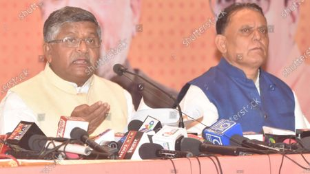 Union Minister of Law and Justice Ravi Shankar Prasad addresses a press conference at BJP media centre  on October 30, 2020 in Patna, India.
