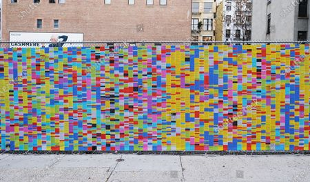A portion of the art installation called 'Wall Of Lies', which documents President Trump's lies during his time in office, is erected in SoHo