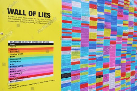 An art installation called 'Wall Of Lies', which documents President Trump's lies during his time in office, is erected in SoHo