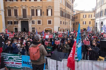 Editorial picture of Protest of Entertainment Workers in Rome, Roma, RM, Italy - 30 Oct 2020