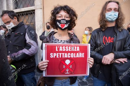 Demonstration, in front of Montecitorio Palace in Rome, organized by some associations of workers from the world of Italian entertainment