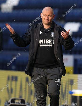 Preston North End manager Alex Neill cuts a frustrated figure as his team trail 0-1; Deepdale Stadium, Preston, Lancashire, England; English Football League Championship Football, Preston North End versus Birmingham City.