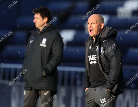 Preston North End manager Alex Neill reacts to the action; Deepdale Stadium, Preston, Lancashire, England; English Football League Championship Football, Preston North End versus Birmingham City.