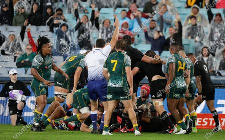 Referee Nick Berry awards New Zealand their fourth try during the Bledisloe rugby test between the All Blacks and the Wallabies at Stadium Australia, Sydney, Australia
