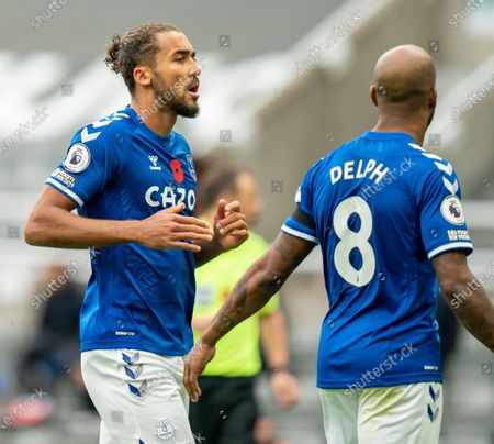 Dominic Calvert-Lewin of Everton chats with Fabian Delph of Everton; St James Park, Newcastle, Tyne and Wear, England; English Premier League Football, Newcastle United versus Everton.