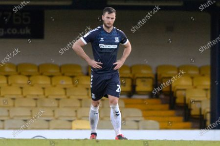 Harry Lennon of Southend reacts to Tom Pope of Port Vale scoring the first goal during Sky Bet League Two match between Southend and Port Vale at Roots Hall in Southend, UK - 31st October 2020